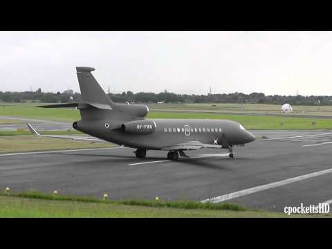 *RARE* Awesome Looking Dassault Falcon 7X OY-FWO close Taxi and Take off - Gloucestershire Airport