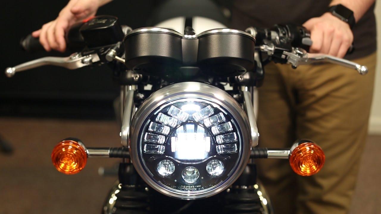 triumph modern classic led headlight upgrade installation [ 1280 x 720 Pixel ]