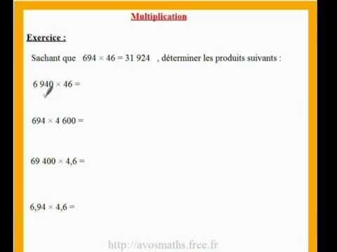 6 me cours de maths et exercices sur la multiplication et for Exercice de multiplication