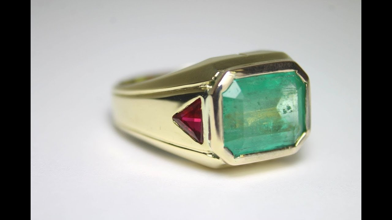 Fathers Day Gift 7 30tcw Natural Colombian Emerald & Ruby Mens Ring 10k