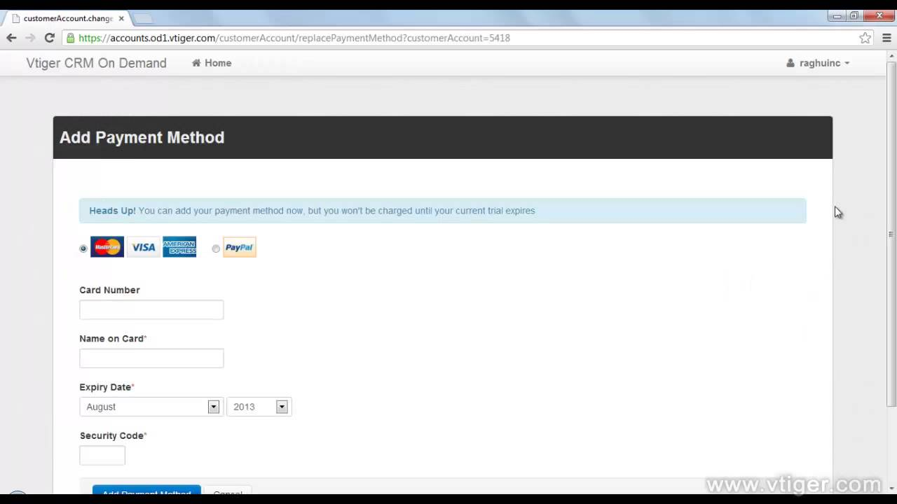 Vtiger CRM On Demand Subscribing after free trial