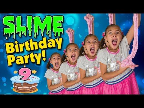 SLIME BIRTHDAY PARTY!!! Spicy Food Challenge! WASABI POPCORN?! Jillian's 9!