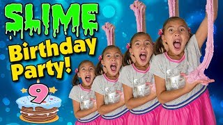 SLIME BIRTHDAY PARTY!!! Spicy Food Challenge! WASABI POPCORN?! Jillian's 9!