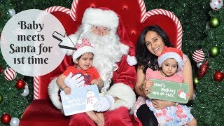 Kids getting their picture taken with Santa | Christmas 2018 | Baby meets Santa for First Time