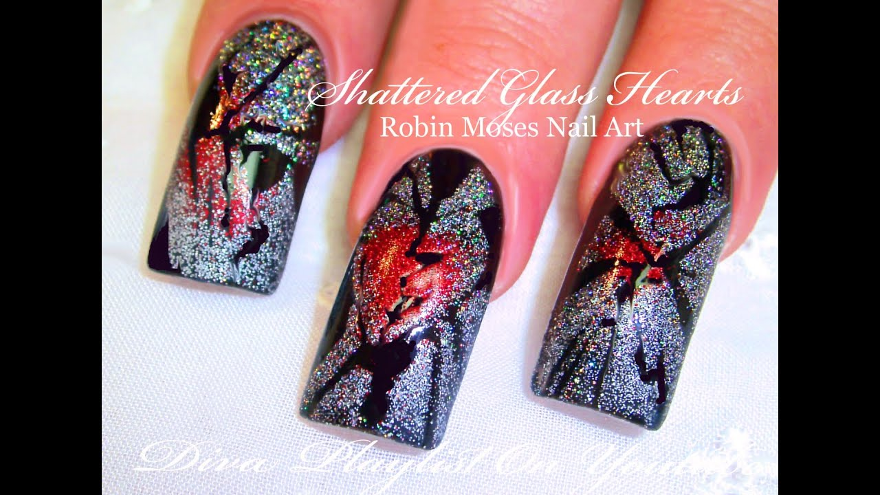 Anti Valentineu0027s day Shattered Glass Nails