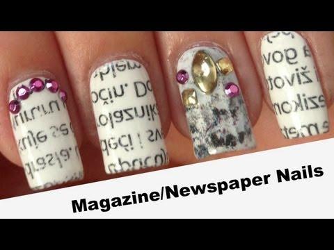 Magazine / Newspaper Nails   HOW TO