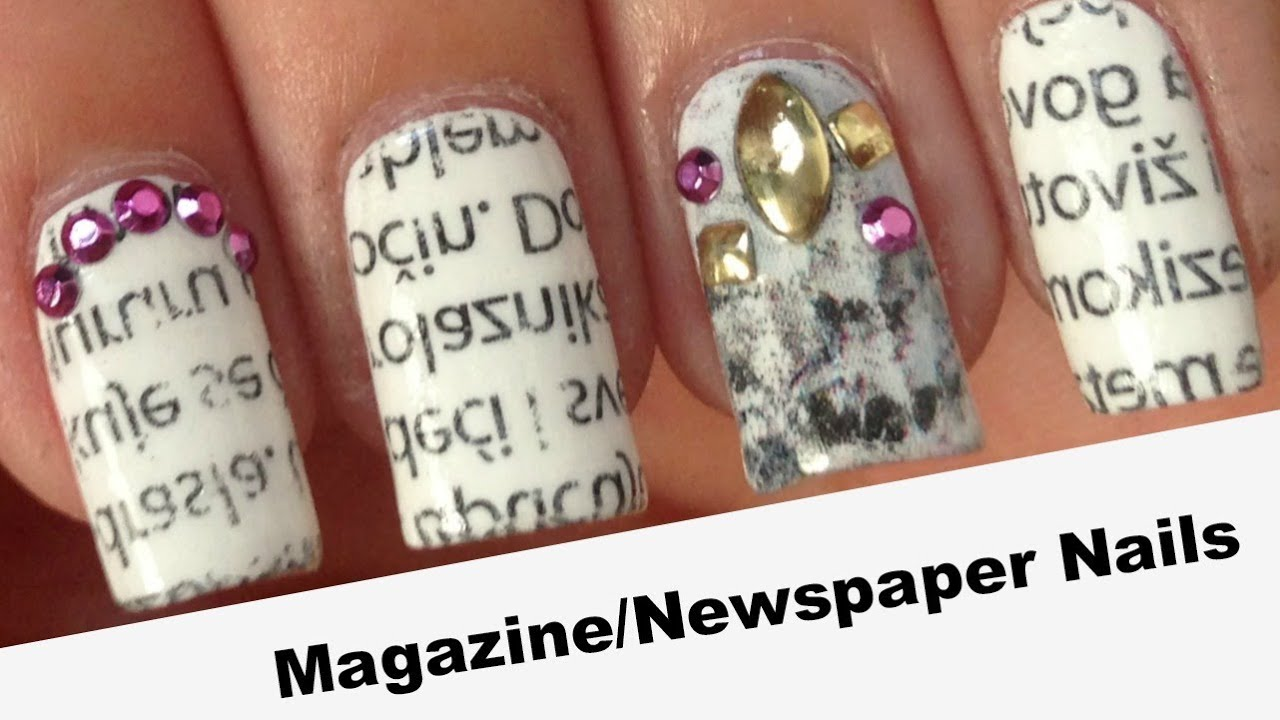 Magazine / Newspaper Nails | HOW TO - YouTube