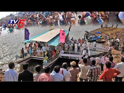 Devotees About Boating At Somasila Pushkar Ghat   Krishna Pushkaralu   Telugu News   TV5 News