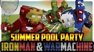 Minecraft Pool Party: Iron Man and Iron Patriot vs Batman and Robin