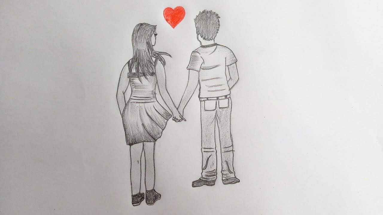 Loving couple holding hands together pencil sketch step by step