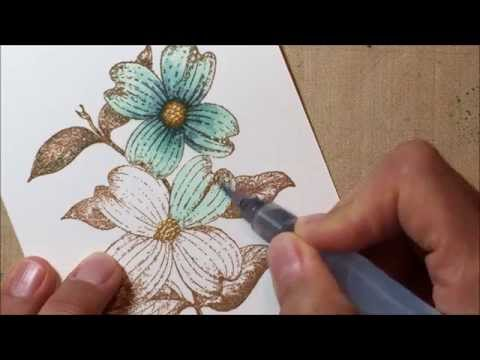 Watercoloring Stamps with Distressed Markers