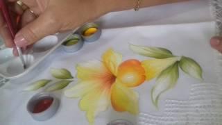 Pintura em Tecido. Aprenda pintar Lírios, Folhas e Fundo