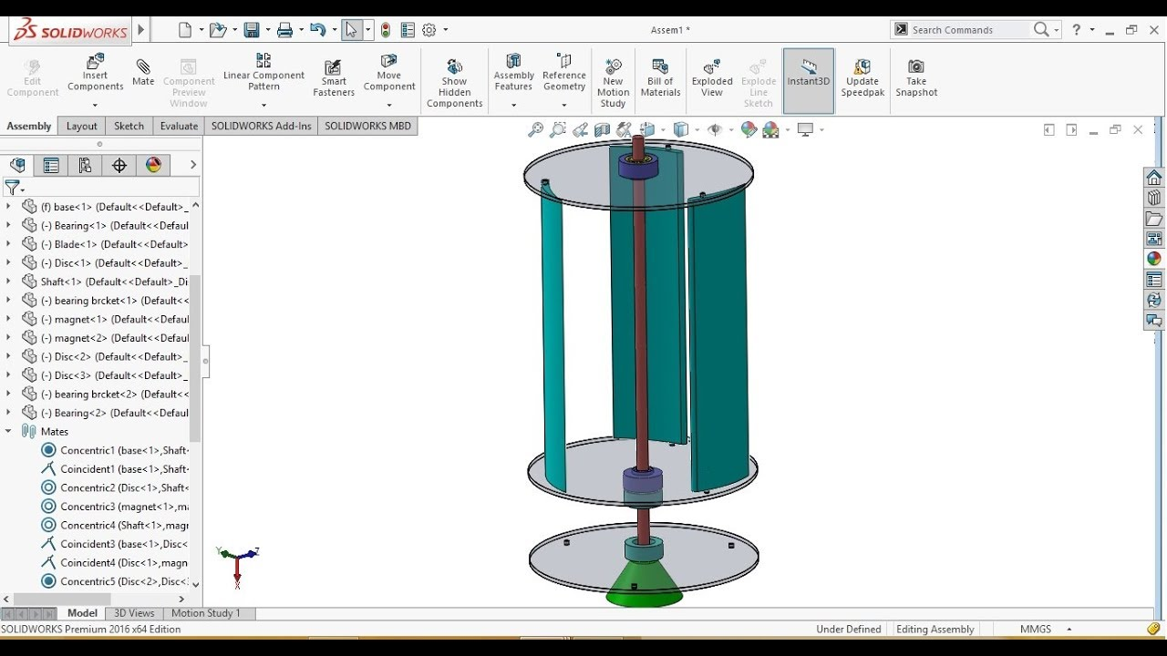 SolidWorks Tutorial: Magnetic Levitation Vertical Axis Wind Turbine Design  and Assembly 1/2