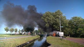 Kostbare vrachtwagen gaat in vlammen op langs Noordervaart bij Stompetoren