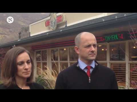 Evan McMullin, a third-party presidential candidate from Utah, with running mate Mindy Finn