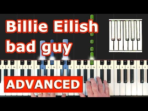 Billie Eilish - Bad Guy - Piano Tutorial Easy - Sheet Music (Synthesia)