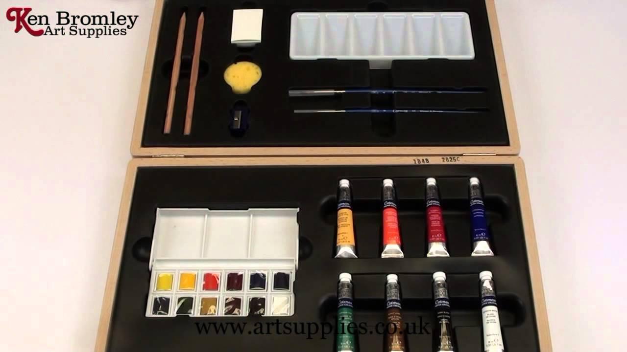 Winsor Newton Large Wooden Art Box Cotman Water Colours Youtube