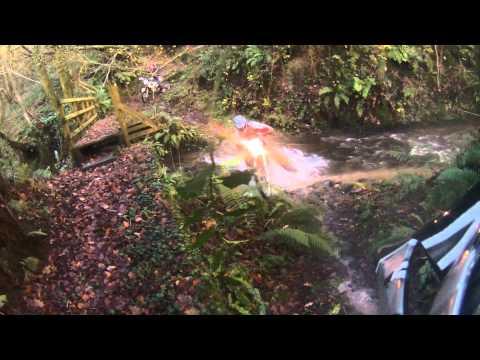 Fording the Afon Felindre near Llanfynydd in Carmarthenshire