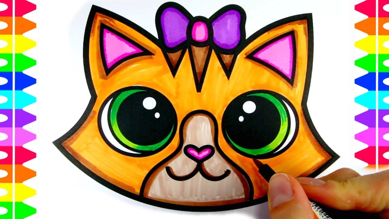 Fun Coloring Pages Coloring A Cute Cartoon Kitten Face Cat