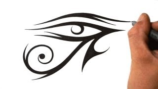 How to Draw Eye of Ra - Tribal Tattoo Design Style