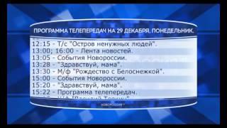 """Программа телепередач канала """"Новороссия ТВ"""" на 29.12.2014"""