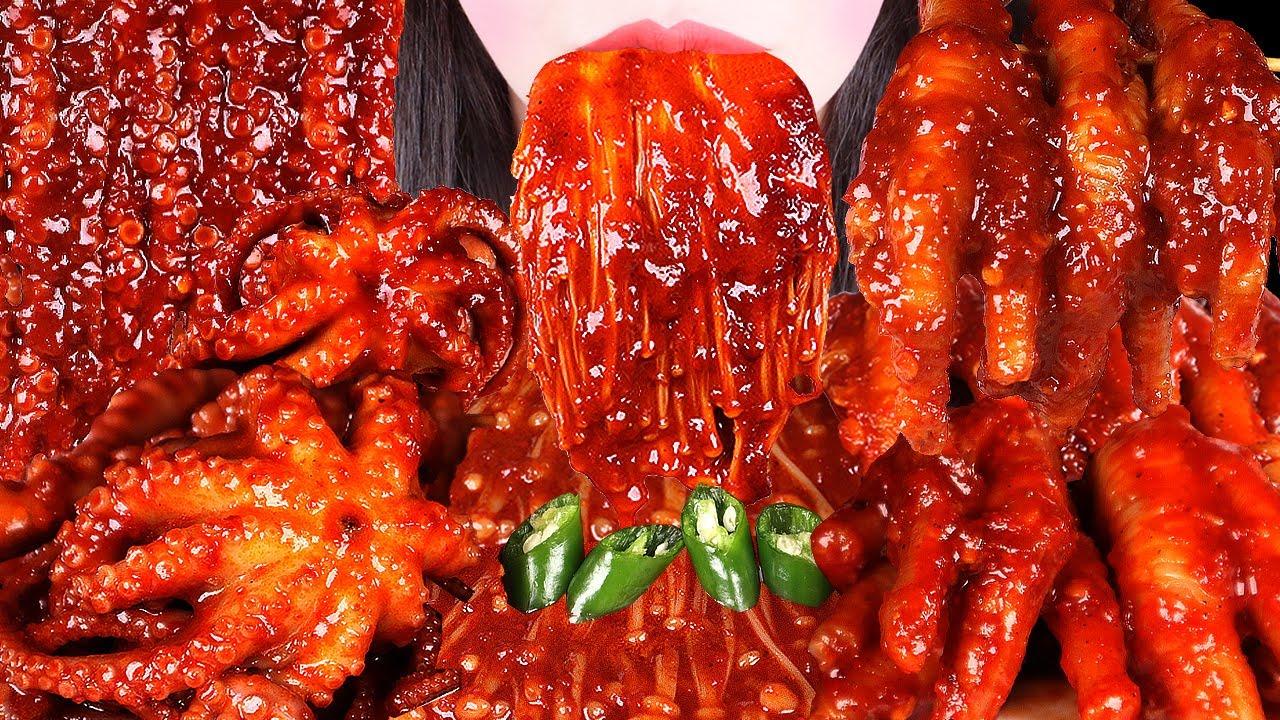 ASMR *RECIPE SPICY OCTOPUS, CHICKEN FEET, SPICY ENOKI MUSHROOMS 매운닭발 레시피 레전드 먹방, 낙지볶음, 팽이버섯 MUKBANG