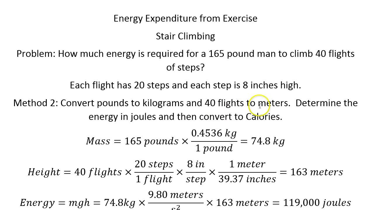 Energy Expenditure From Exercise