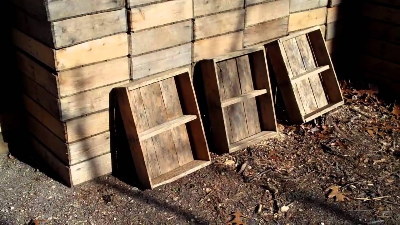 Old Wooden Blueberry Farm Crates Shelf Idea