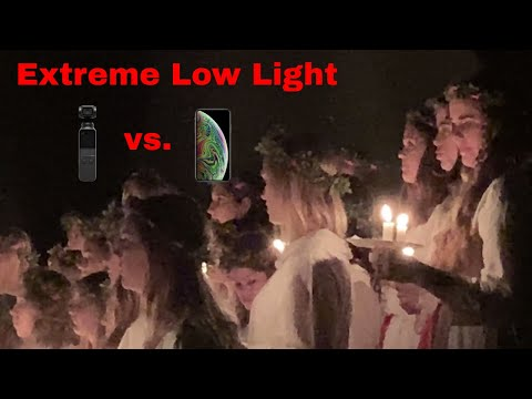 Extreme Low Light - Osmo Pocket (Latest Firmware) Vs IPhone XS Max 4K 30fps