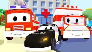 Streifenwagen Feuerwehrauto und Polizeiauto und Krankenwagen in Autopolis   Lastwagen Cartoon