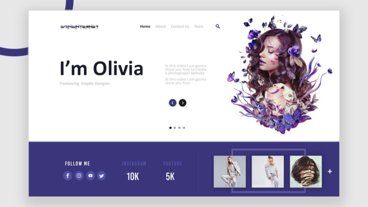 Responsive Graphic Designer Website Using Html Css And Javascript