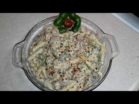 Chicken pasta alfredo sauce/boneless chicken pasta white sauce/easy cooking overseas