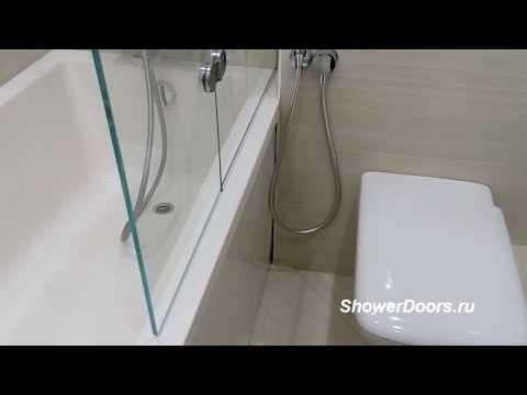 """Складная стеклянная душевая шторка для ванной на заказ из """"Оптивайт"""" 8 мм. Размеры 1100x1600 мм"""