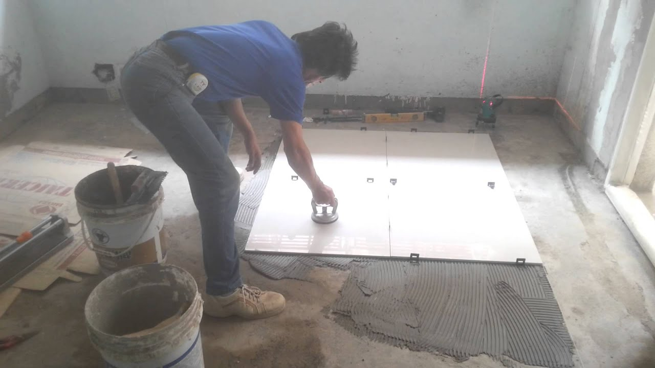 Floor tile installation process 60x60 cm polished tiles youtube dailygadgetfo Images