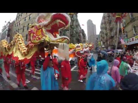 ⁴ᴷ NYC Chinatown 2018 Chinese Lunar New Year Parade Highlights @ Mott Street