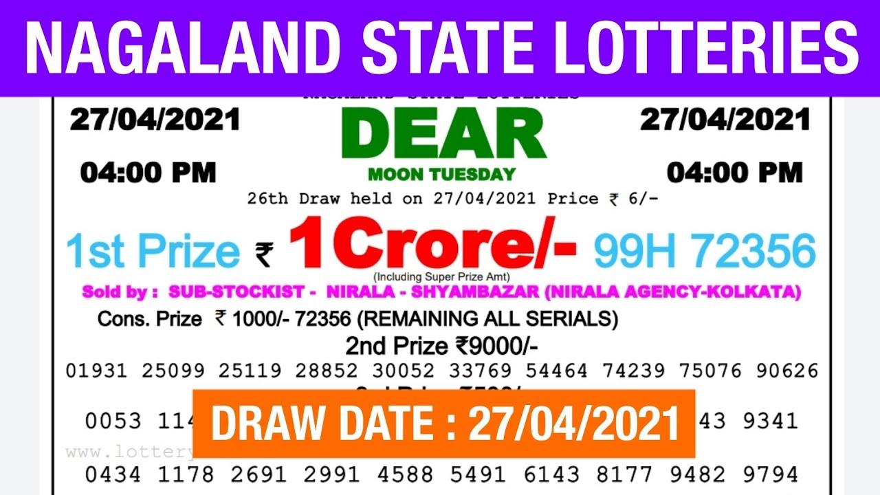 Lottery Sambad Lottery Live 04.00pm 27.04.21 Nagaland Lottery Live gdn