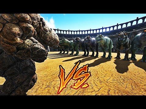 20 GOLEMS VS 10 GIGANOTOSAURUS ! | ARK: Survival Evolved !
