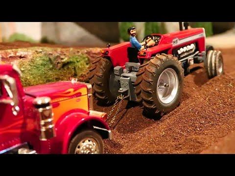 Rc Tractor Massey Ferguson In Mud / Truck Stuck At Farm Work / Farm Machinery Action
