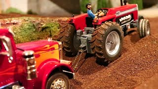 Rc Tractor MASSEY FERGUSON in Mud / TRUCK stuck at Farm work / FARM MACHINERY ACTION