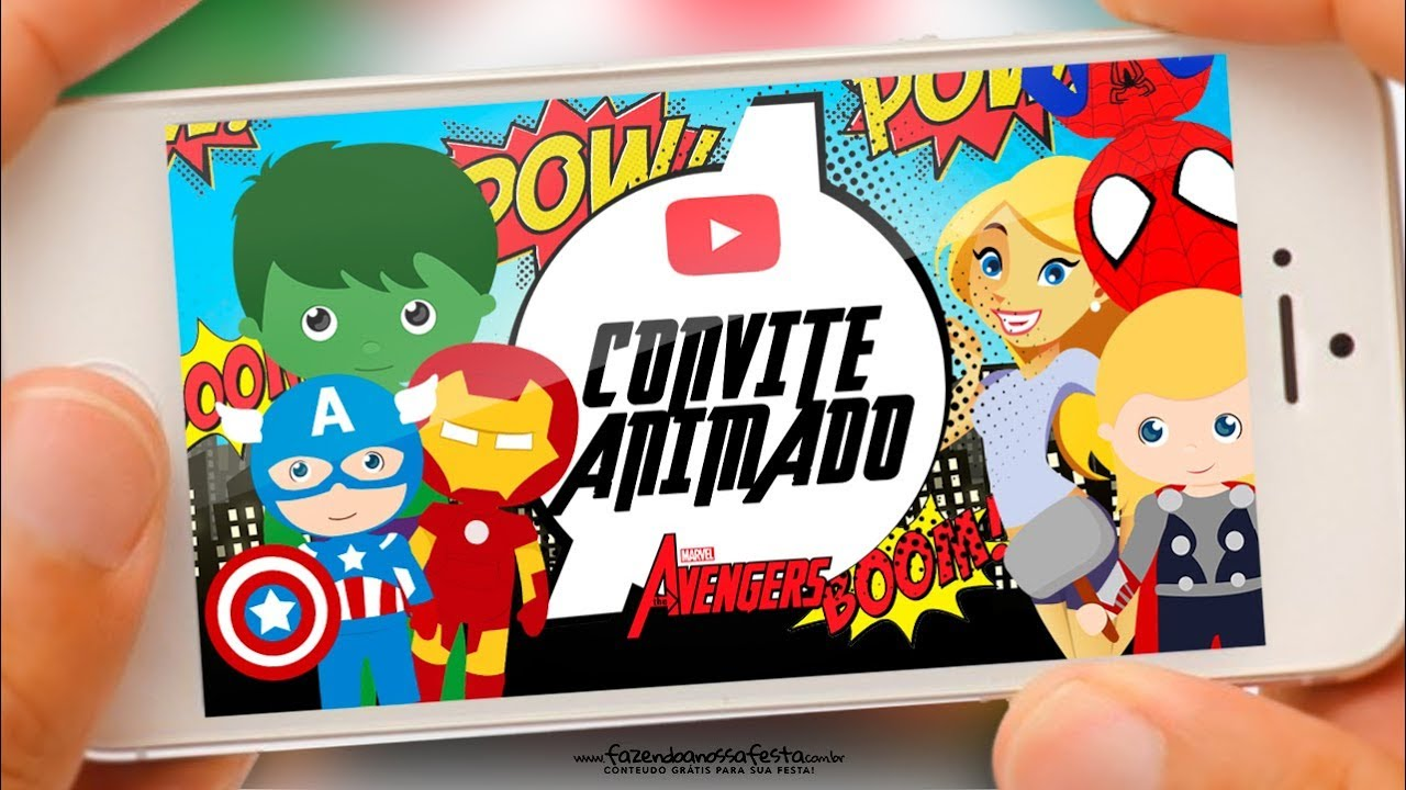 Convite Animado Vingadores Cute Gratis Youtube