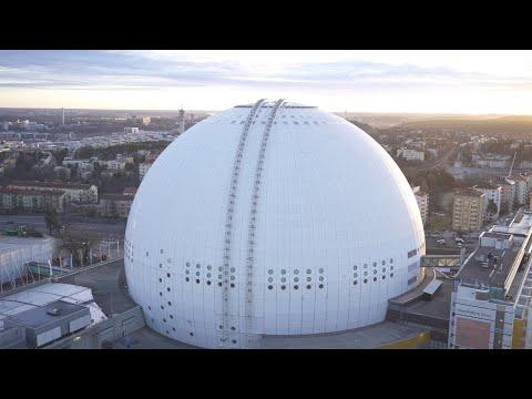 2559. Globen (Stockholm Globe Arena) Drone Stock Footage Video