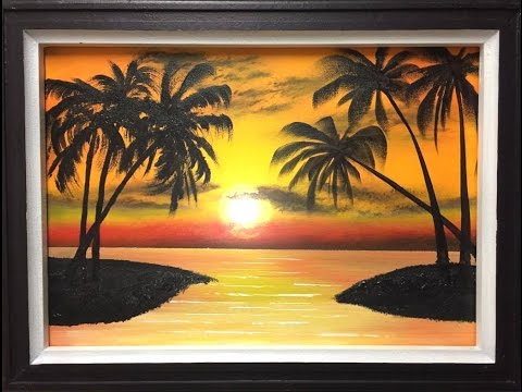 how to paint a palm sunset (acrylic)