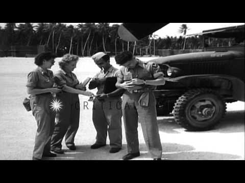 Marine Major General HM Smith and Air Force Major General Willis H Hale on Tarawa HD Stock Footage