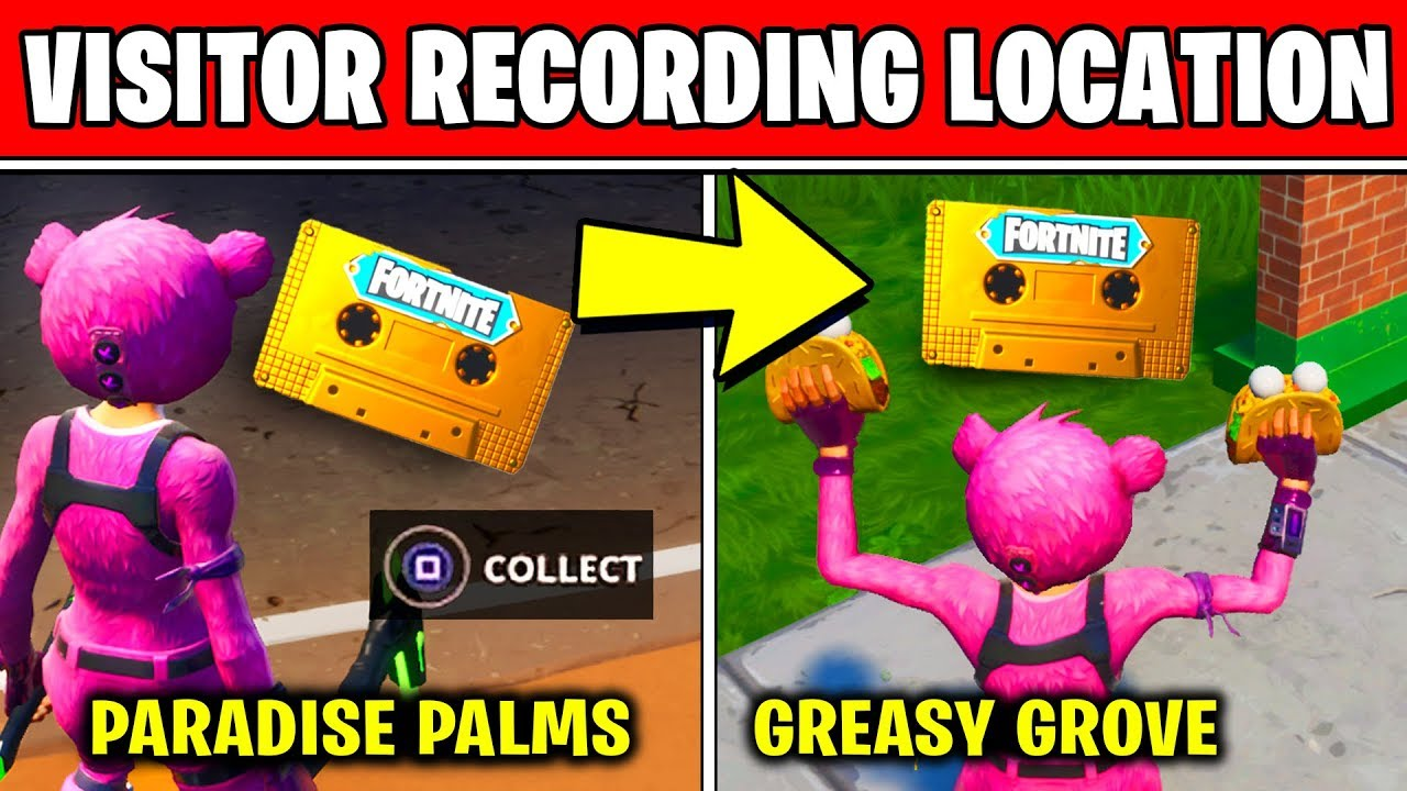 Collect The Visitor Recording On The Moisty Palms And Greasy Grove Locations Fortnite Out Of Time