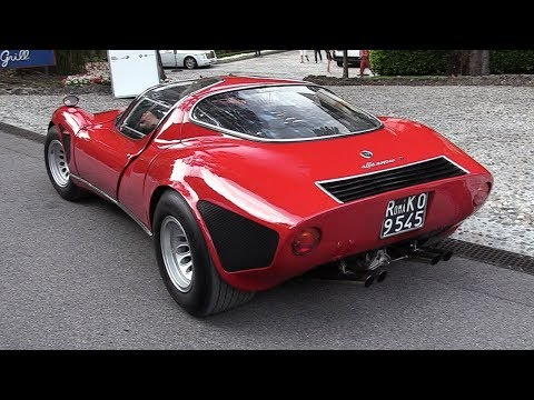1968 Alfa Romeo 33 Stradale: 2.0 V8 Engine Sound, Warm Up & Driving!