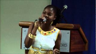 "Amber sings ""No More Fussing & Fighting at LESC Barbados"
