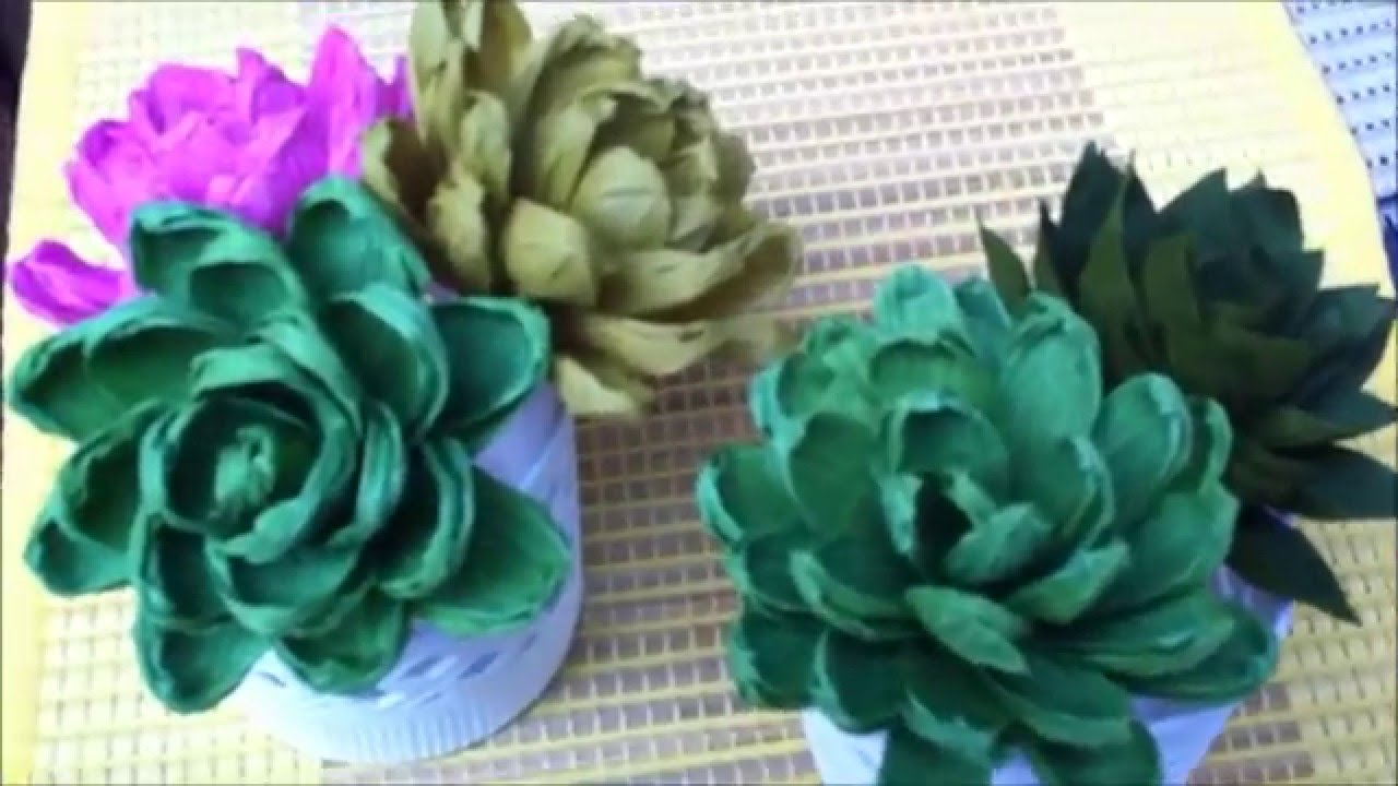 How to make paper flower succulent plant flower 68 youtube mightylinksfo