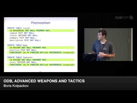 "CppCon 2014: Boris Kolpackov ""ODB, Advanced Weapons and Tactics"""