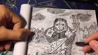 Рисую Корво Аттано из Dishonored