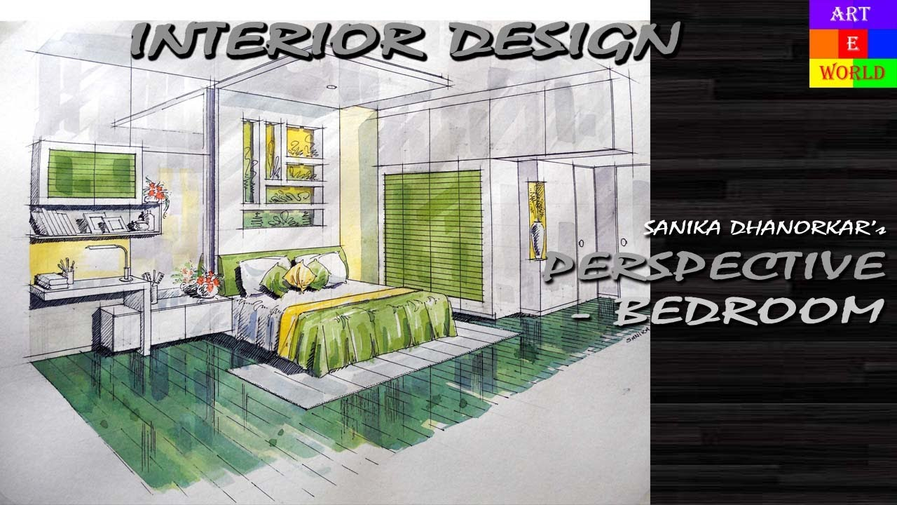 30 manual rendering 2 point interior perspective for Interior decoration tutorial